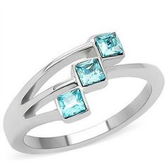 Square cut three stone aquamarine color stainless steel ring
