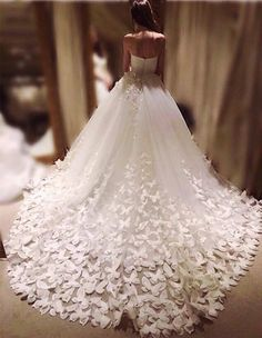 Speranza couture wedding gown dress skirt and train embroidered with flowers and butterflies // Wedding dresses fit for a princess bride / spring wedding