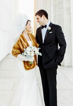 Winter wedding style: we love this Four Seasons Washington bride's chic stole.