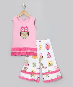Look what I found on #zulily! Pink Owl Tank & White Ruffle Pants - Toddler & Girls by AnnLoren #zulilyfinds