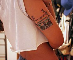Marc Johns: boombox with antlers tattoo - Paula from Argentina Pretty Tattoos, Love Tattoos, Tattoo You, Tatoos, Tattoo Quotes, Music Tattoos, Antler Tattoos, Ink Addiction, Cool Tats