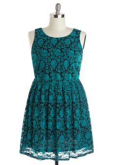 Floral Flashback Dress in Turquoise - Plus Size | Mod Retro Vintage Dresses | ModCloth.com