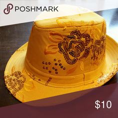 Golden yellow fedora Fedora with yellow embroidery and sequin flower design. Other
