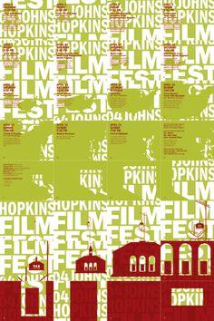 Animated poster for the Johns Hopkins Film Festival Perforated poster turns into flipbook animation. Film Festival Poster, London Film Festival, Type Design, Design Art, Screen Print Poster, Johns Hopkins, Environmental Design, Logo Branding