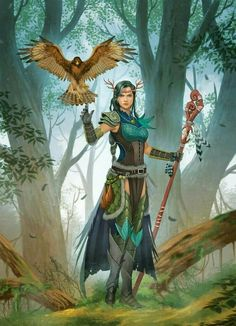 f High Elf Druid Med Armor Cloak Crown Staff Hawk Companion Deciduous Forest hills lg Fantasy Character Design, Character Concept, Character Inspiration, Character Art, Dungeons And Dragons Characters, Dnd Characters, Fantasy Characters, Druid Dungeons And Dragons, Fantasy Girl