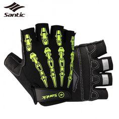 Santic Half Finger Cycling Gloves With GEL Pad Shockproof Professional Road MTB Bike Gloves Breathable Biking Bicycle Gloves Men #Affiliate