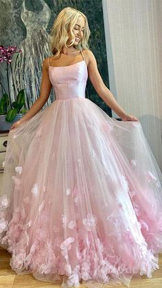 Pink tulle applique long prom dress, pink tulle evening dress,school event dress,evening dress · Grace Girls Dress · Online Store Powered by Storenvy Prom Dresses Long Pink, Pretty Prom Dresses, Straps Prom Dresses, Flower Dresses, Homecoming Dresses, Maxi Dresses, Elegant Dresses, Wedding Dresses, Summer Dresses