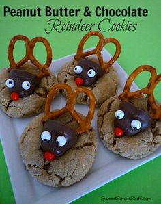 Peanut Butter & Chocolate Reindeer Cookies