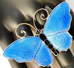 David Andersen Norway Sterling Silver 925s/Enamel Blue Butterfly Brooch/Pin