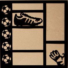 Die-Cut Cardstock Soccer x Scrapbook Page Overlay Paper Bag Scrapbook, Scrapbook Titles, Scrapbook Templates, Disney Scrapbook, Scrapbook Sketches, Scrapbook Supplies, Scrapbooking Layouts, Paper Lace, Diy Paper