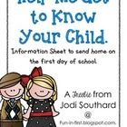 {freebie} This general information sheets are perfect to send home to parents on the first day of school.  This will allow you to get to know your students