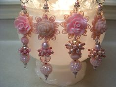Peachy Pinks Christmas Dangles  4pc by ChristmasDangles on Etsy, $27.50