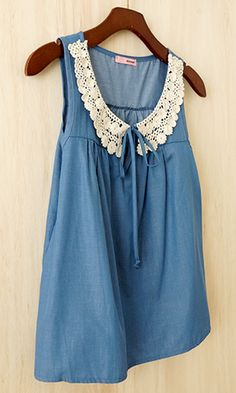 Chambray Blouse with feminine collar