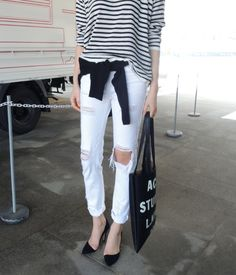 For an on trend 90s look, try distressed white denim. To complete the outfit add a stripe and jumper tied around your waist. www.stylestaples.com.au