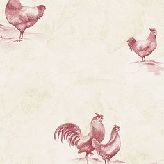 Beige and Burgundy Rooster Wallpaper KE29931 - Wallpaper & Border | Wallpaper-inc.com