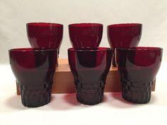 Set of 6 Anchor Hocking Ruby Red Windsor Royal 10oz Tumblers #AnchorHocking