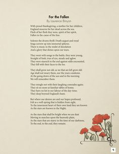 For the Fallen and other poems. Page from Laurence Binyon's seminal 1914 poem.