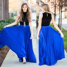 Fairy Retro Chiffon Maxi Skirt Big Sweep Long Skirt in Royal Blue ...
