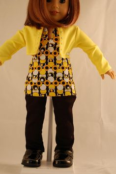 18 Inch American Girl Doll Julia's three piece outfit is simply gorgeous. Yellow pearlized stones adorn the front opening of the yellow