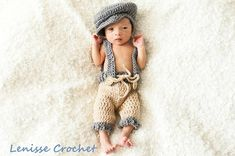 READY TO SHIP Newsboy Crochet Newborn Photo Prop/ Vintage newborn set / baby boy outfit/ Oliver hat/ newborn outfit / suspenders / bow tie by LenisseCrochet