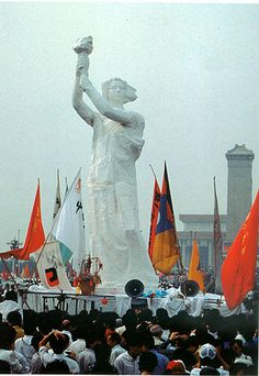 The Goddess of Democracy in Tiananmen Square was created by Chinese students who demonstrated for freedom in China in 1989.  The inspiration for this 30-foot statue was the Statue of Liberty in New York Harbor and represented the Chinese people's aspiration for freedom and political reform.