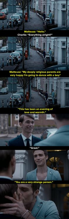 it's the way you should see gays couples, like ACTUAL COUPLES not clichés. love this show New Funny Jokes, Funny Facts, Bbc Class, Office Jokes, Clean Jokes, Bbc Doctor Who, Cute Gay Couples, Jokes In Hindi, Funny Relationship
