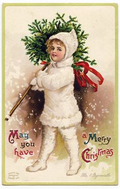 Vintage Christmas Clipart | Vintage Christmas Graphic - Snow Girl with Topiary - The Graphics ...