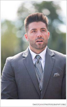 Emily Jane Photography » groom reaction, wedding ceremony, groom