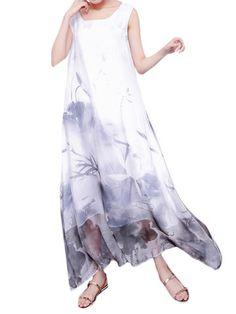 Vintage Women Sleeveless Chinese Style Printing Chiffon Maxi Dress