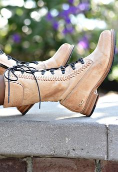 Sand colored leather boot by BEDSTU. The perfect mid calf boot with detailed leather and front lacing.