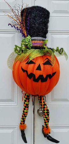 Pumpkin Wreath-Halloween Wreath-Halloween Pumpkin Wreath-Halloween Decor-Door Wreath-Holiday Door Wreath-Whimsical Halloween Wreath by StudioWhimsybyBabs on Etsy https://www.etsy.com/listing/244705202/pumpkin-wreath-halloween-wreath
