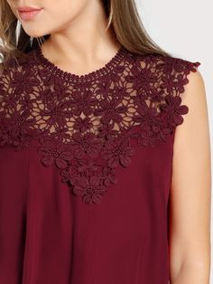 Shop Keyhole Back Daisy Lace Shoulder Shell Top online. SheIn offers Keyhole Back Daisy Lace Shoulder Shell Top & more to fit your fashionable needs. Kurta Designs Women, Blouse Designs, Casual Tops For Women, Blouses For Women, Diy Clothes And Shoes, Blouse Patterns, Blouse Styles, Ladies Dress Design, Chiffon Tops