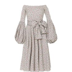 Caroline Constas Gisele Tea Length Dress (2,605 SAR) ❤ liked on Polyvore featuring dresses, floral, tea length dresses, floral dresses, long-sleeve floral dresses, white pleated dress and sleeved dresses