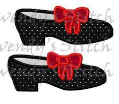 Tap shoes dance applique machine embroidery digital pattern design