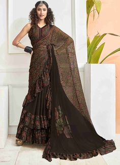 Faux Chiffon Printed Saree in Brown