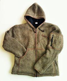 Hippie Wool Jacket Hand Knit in Nepal Fleece Lined Unisex Hooded ...