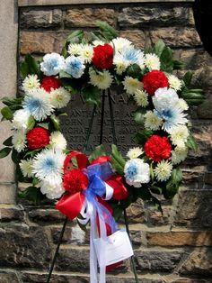 Memorial Wreath placed at the Memorial wall at Memorial Park