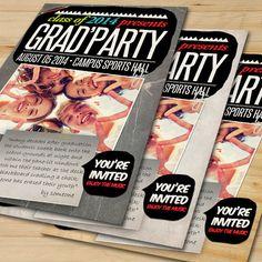 Graduation Party Invitation Card 3 by FionaCreatiiv on Etsy, $4.00