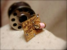 Soft pink vintage style miniature spool of by EarthenVesselMLacy