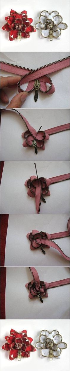 How to Make Easy Zipper Flowers #craft #fashion