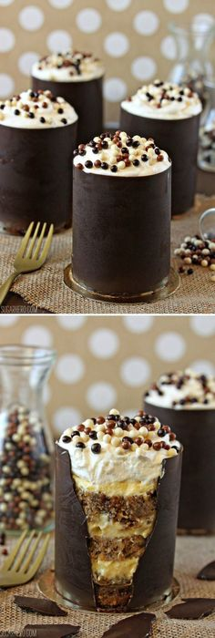 Holy Cow! Banana Bread Tiramisu, in an edible chocolate shell! | From SugarHero.com