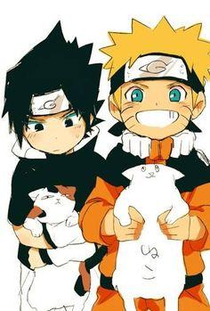 Naruto Uzumaki and Sasuke Uchiha. I really think the fat cat that Naruto is holding looks so cute. Sasuke X Naruto, Anime Naruto, Naruto Shippuden, Boruto, Sasuke Sakura, Anime Manga, Naruto Funny, Sasunaru, Narusasu