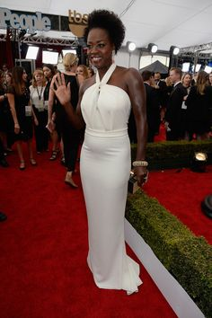 Viola Davis-2015 Screen Actors Guild Awards...Gorgeous, just add embellishments that fit your wedding theme. Get that designer look without the designer $$$, have it custom-made. Ask your dressmaker for suggestions.