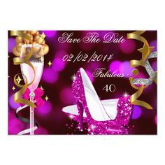 Save The Date for Fabulous 40 Hot Pink Bubbles Black Gold Yellow Any Age. Glitter High Heel Shoes. 40's 40th Elegant Black Birthday Party Champagne. Womens ladies or mens. Elegant Classy Celebrations All Occasion Invitations. Party birthday invites Template for 21st, 30th, 40th, 50th, 60th, 70th, 80th, 90, 100th,