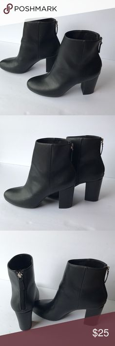 Black Leather Ankle Boots New Condition Christian Siriano Leather Boots. Size 7 1/2. Christian Siriano Shoes Ankle Boots & Booties