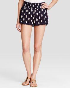 Aqua Shorts - Leaf Print Split