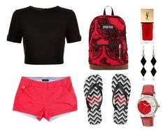 """Black and Red"" by tlb0318 on Polyvore featuring Ted Baker, JanSport, Bertha and Yves Saint Laurent"