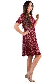 """Sloan"" Modest Dress in Burgundy Lace w/Nude Lining"