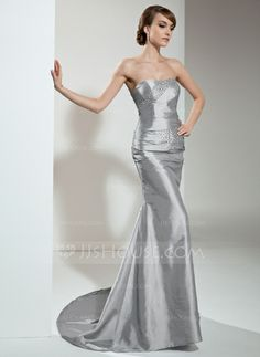 Evening Dresses - $144.99 - Mermaid Sweetheart Sweep Train Taffeta Evening Dress With Ruffle Beading (017021129) http://jjshouse.com/Mermaid-Sweetheart-Sweep-Train-Taffeta-Evening-Dress-With-Ruffle-Beading-017021129-g21129