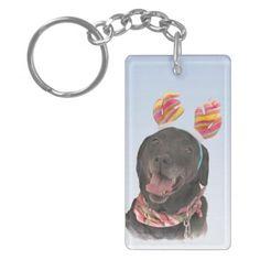 Cheerful Black Labrador Retriever Dog Keychain